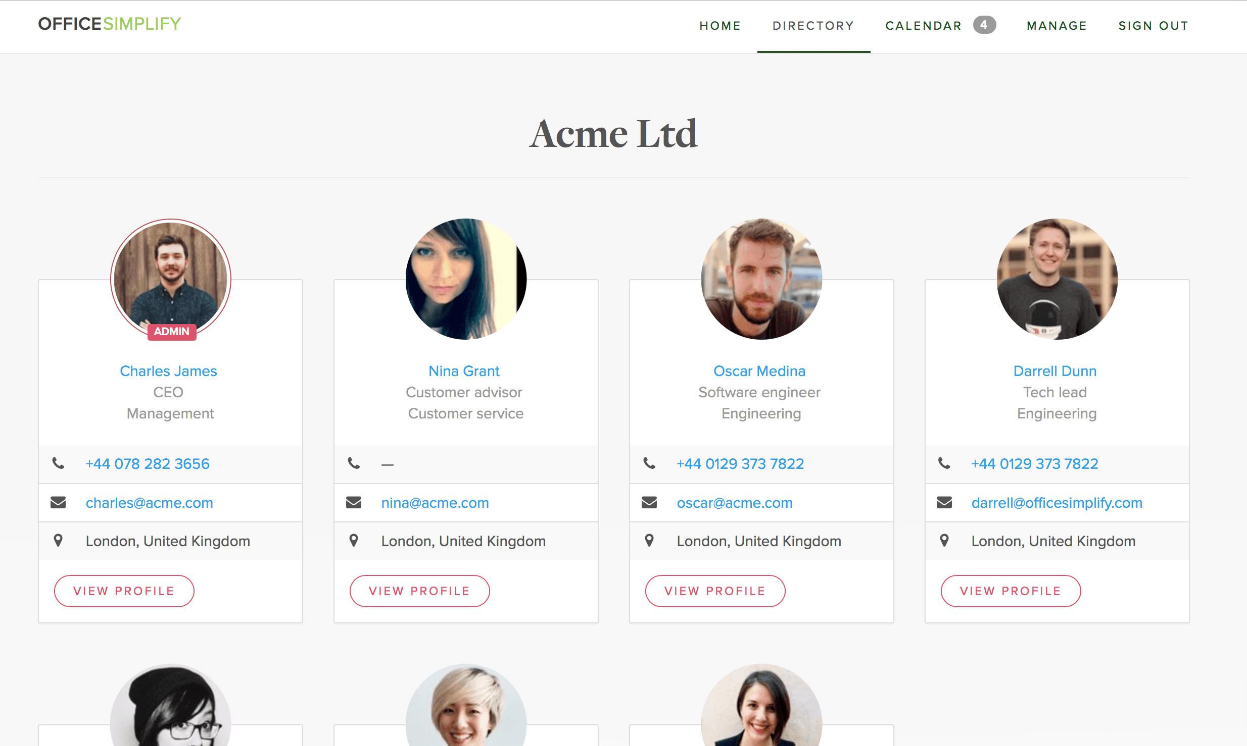 Team directory