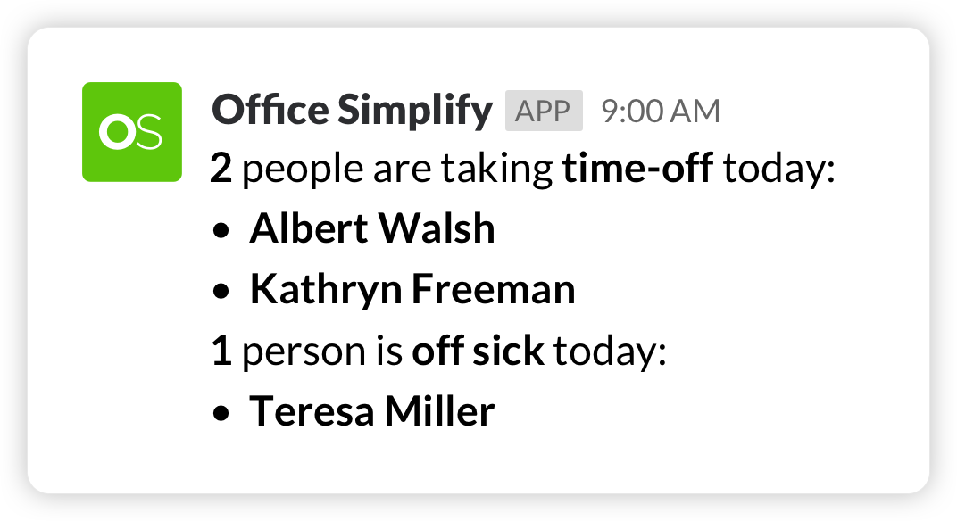 Slack time-off notification